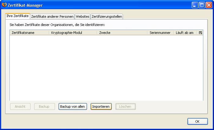 Installation von Schlüsseln und Zertifikaten mit Mozilla Firefox