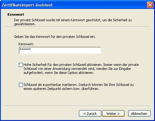 Installation von Schlüsseln und Zertifikaten mit dem Internet Explorer